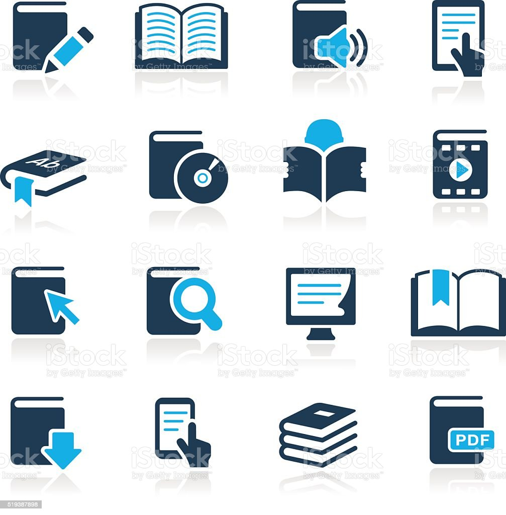 Book Icons // Azure Series vector art illustration