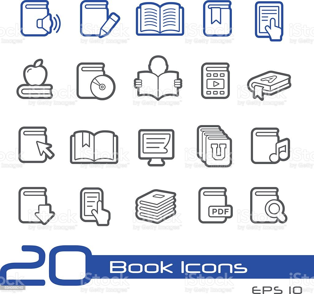 Book Icons // Line Series vector art illustration