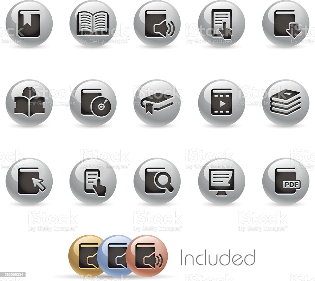Book Icons - Metal Round Series vector art illustration