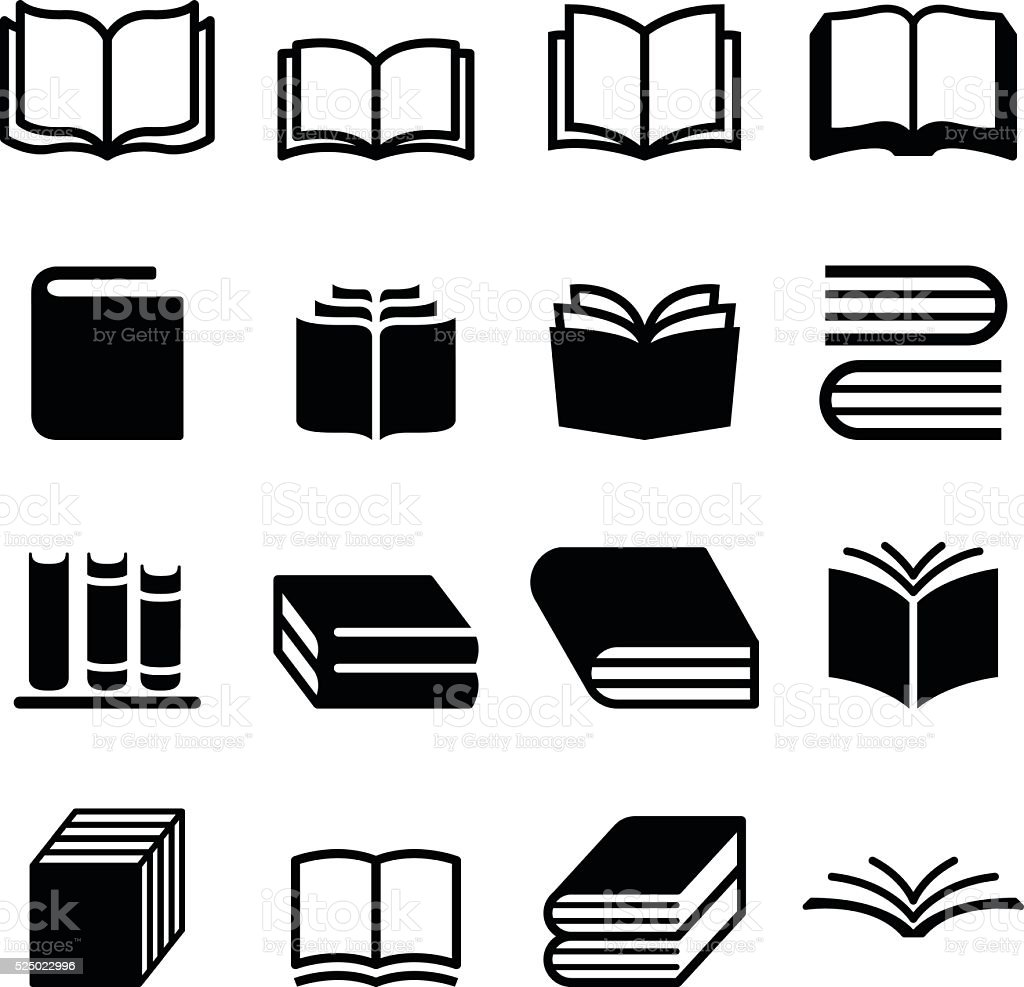 Book icons set vector art illustration
