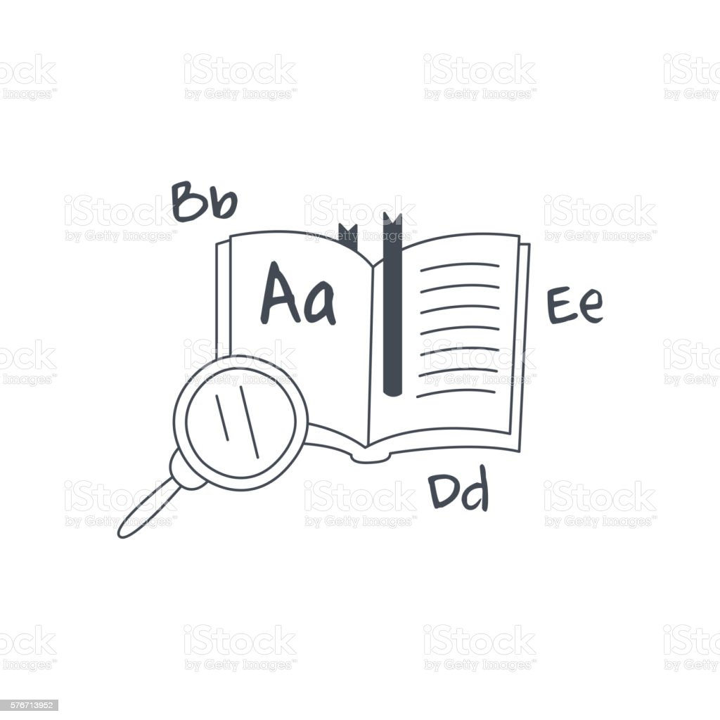 Book In Foreign Language And Magnifying Glass vector art illustration