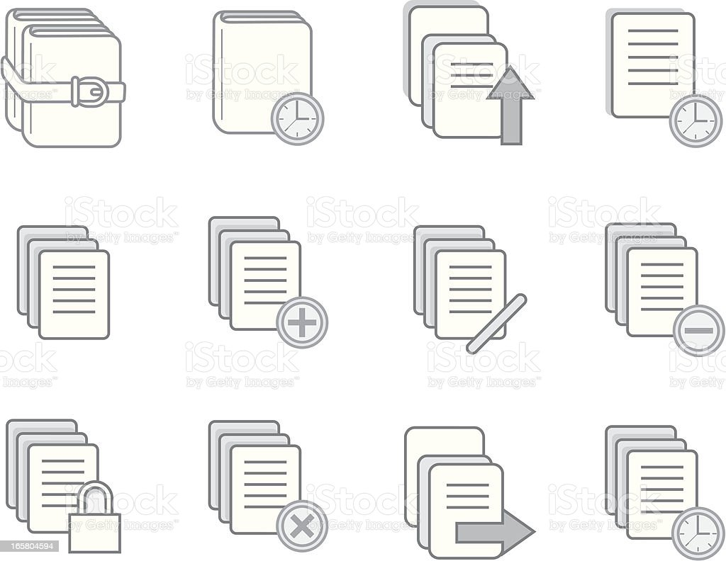 Book, Library and Article icons royalty-free stock vector art