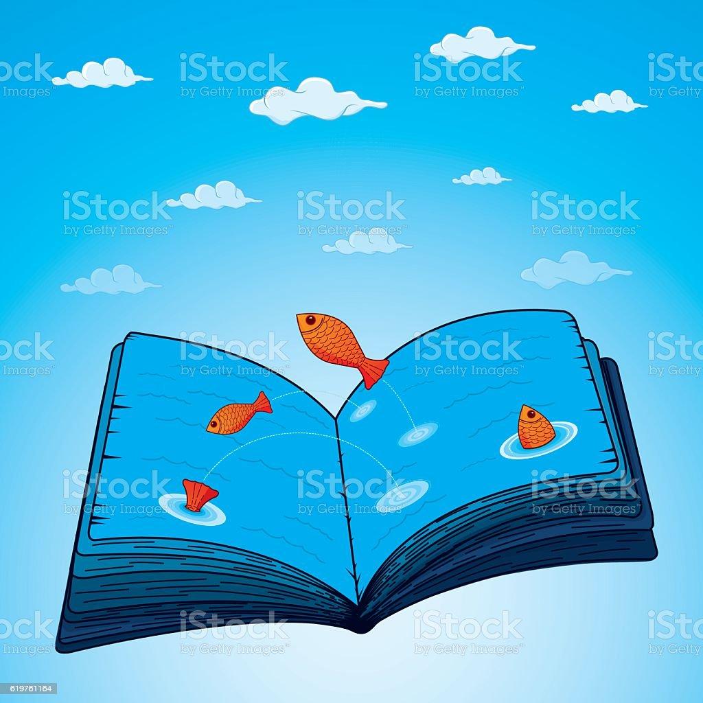 Book of sea of information vector art illustration