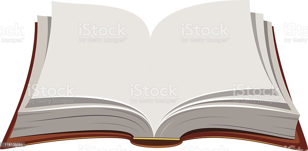 A book opened up to a blank page royalty-free stock vector art