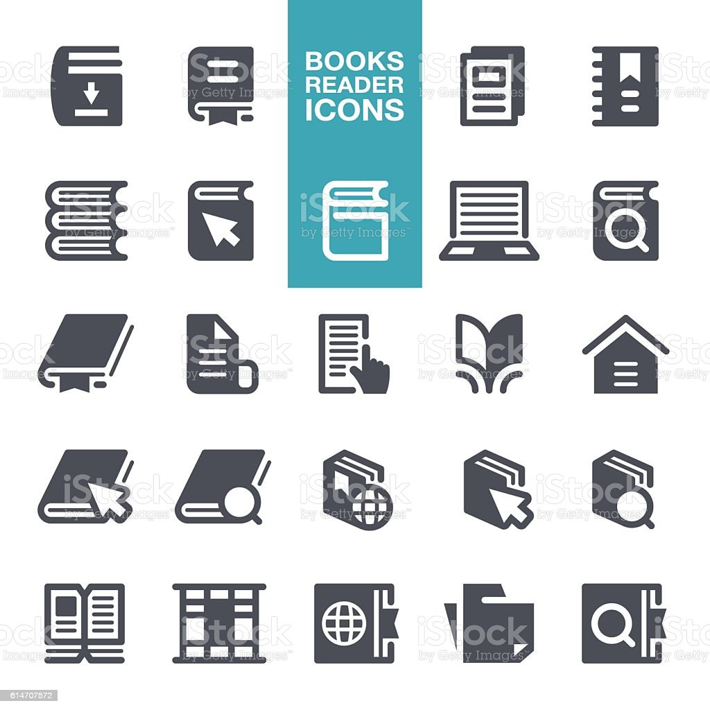 Book Reading Icons vector art illustration