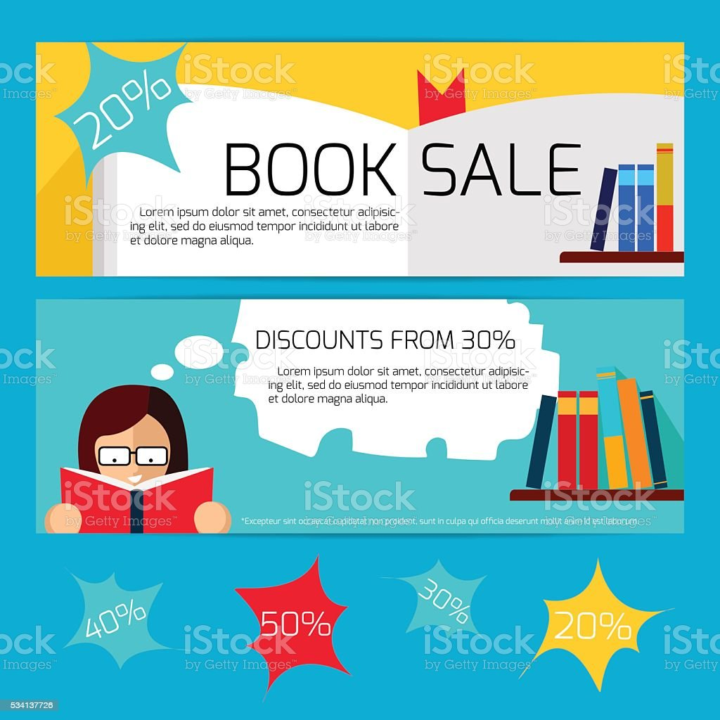 Book Sale Horizontal Banners vector art illustration