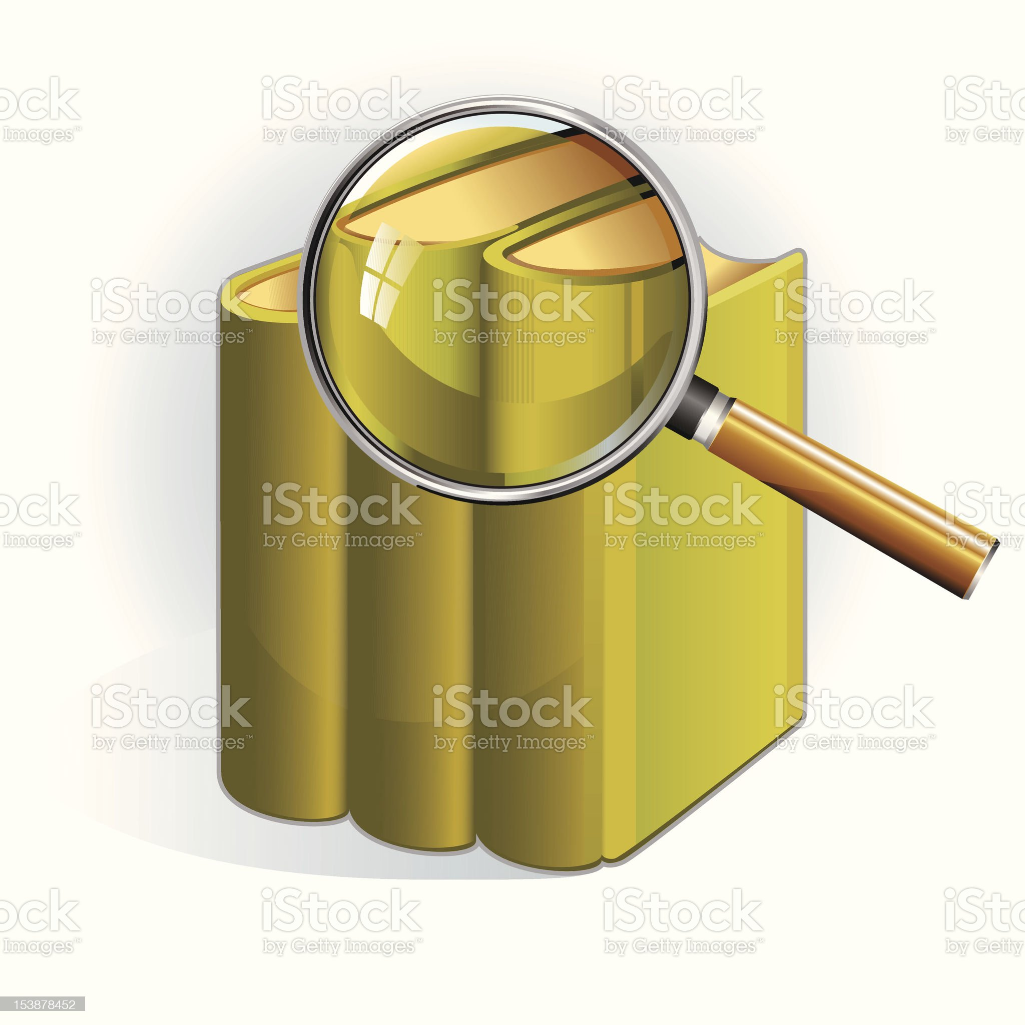 Book Search. Books under the magnifying glass. royalty-free stock vector art