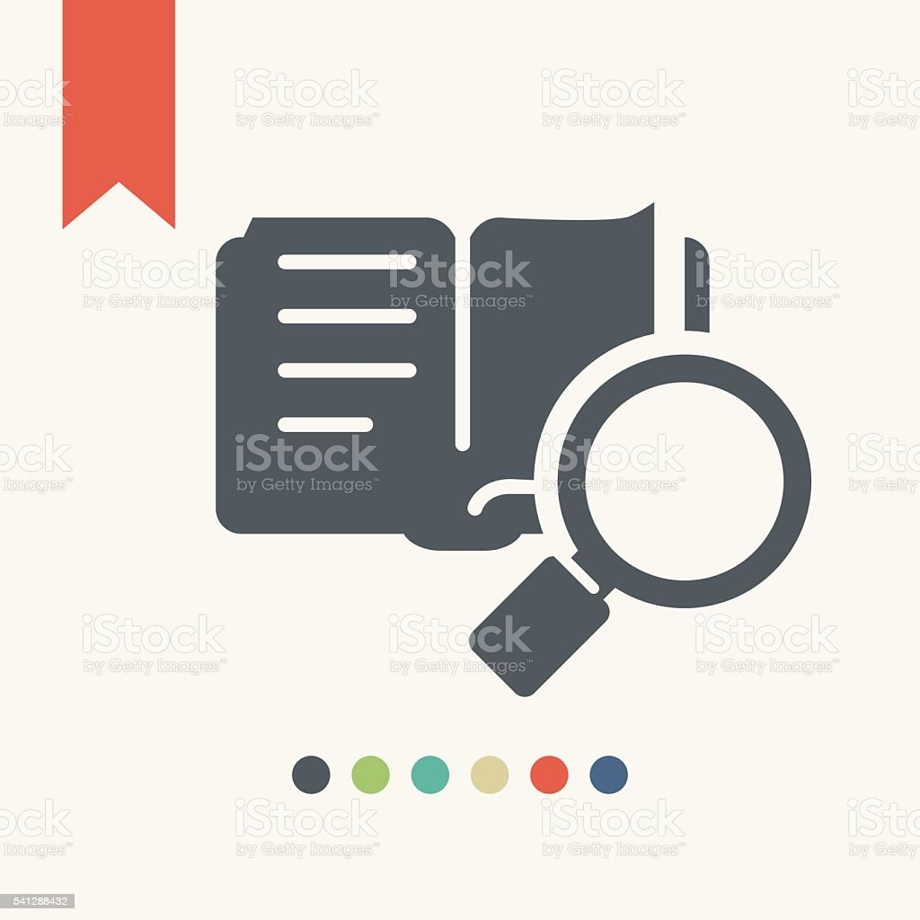Book Search. Books under the magnifying glass. vector art illustration