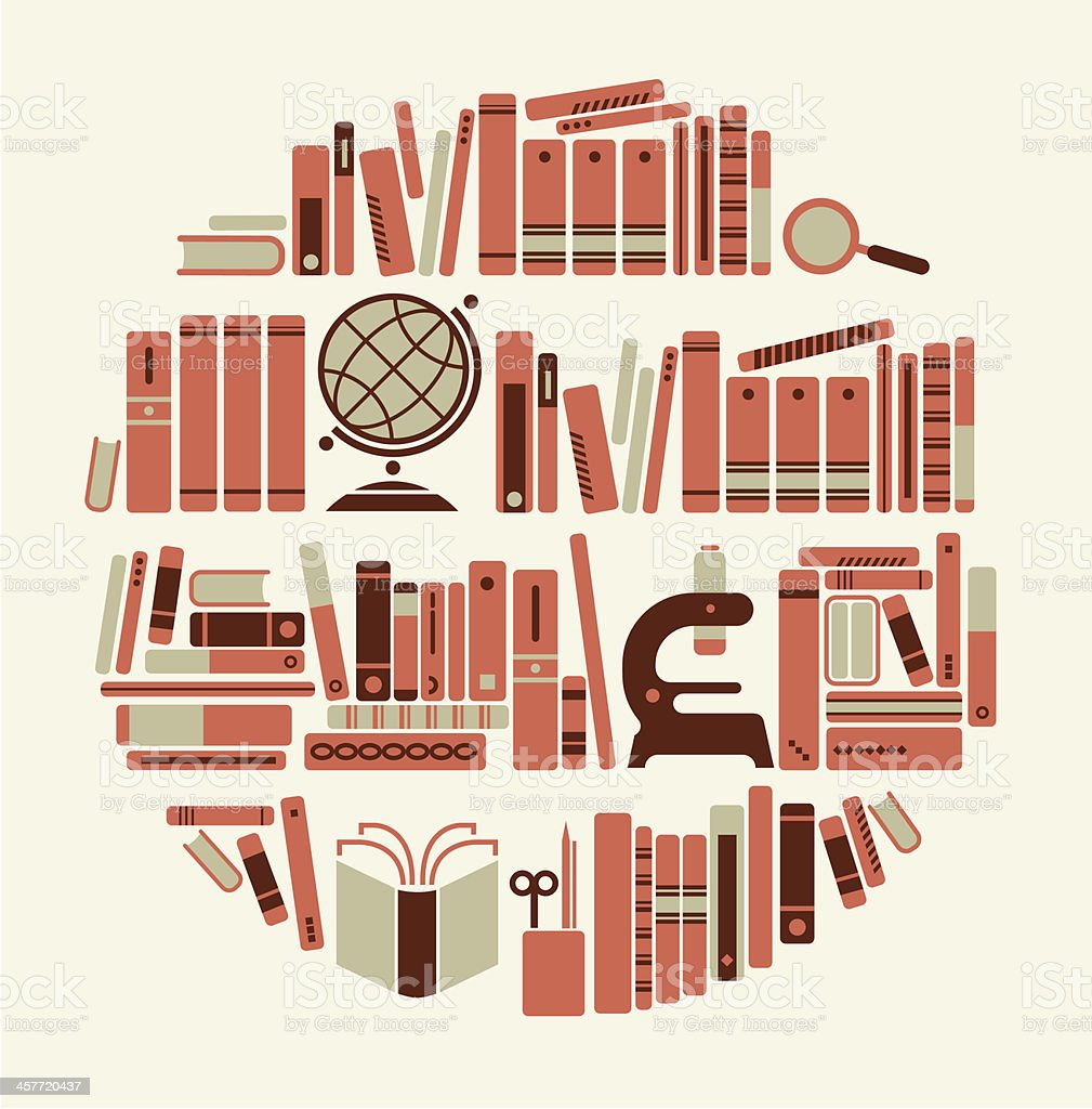 Book shelf silhouette royalty-free stock vector art