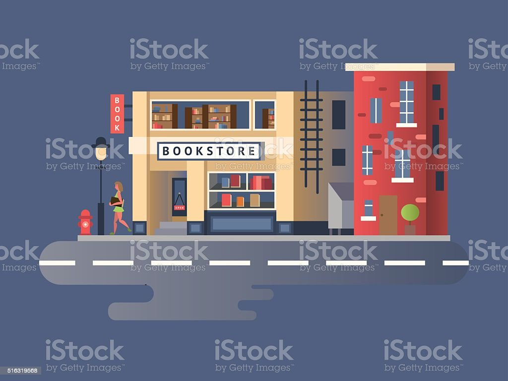 Book shop building vector art illustration