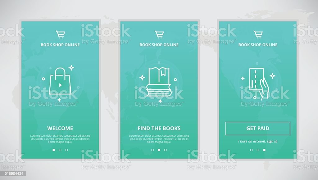 Book Shop Online App Screens Design Royalty Free Stock Vector Art