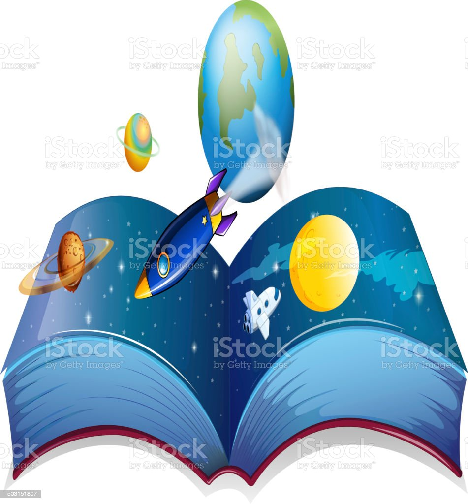 Book showing the earth and other planets vector art illustration