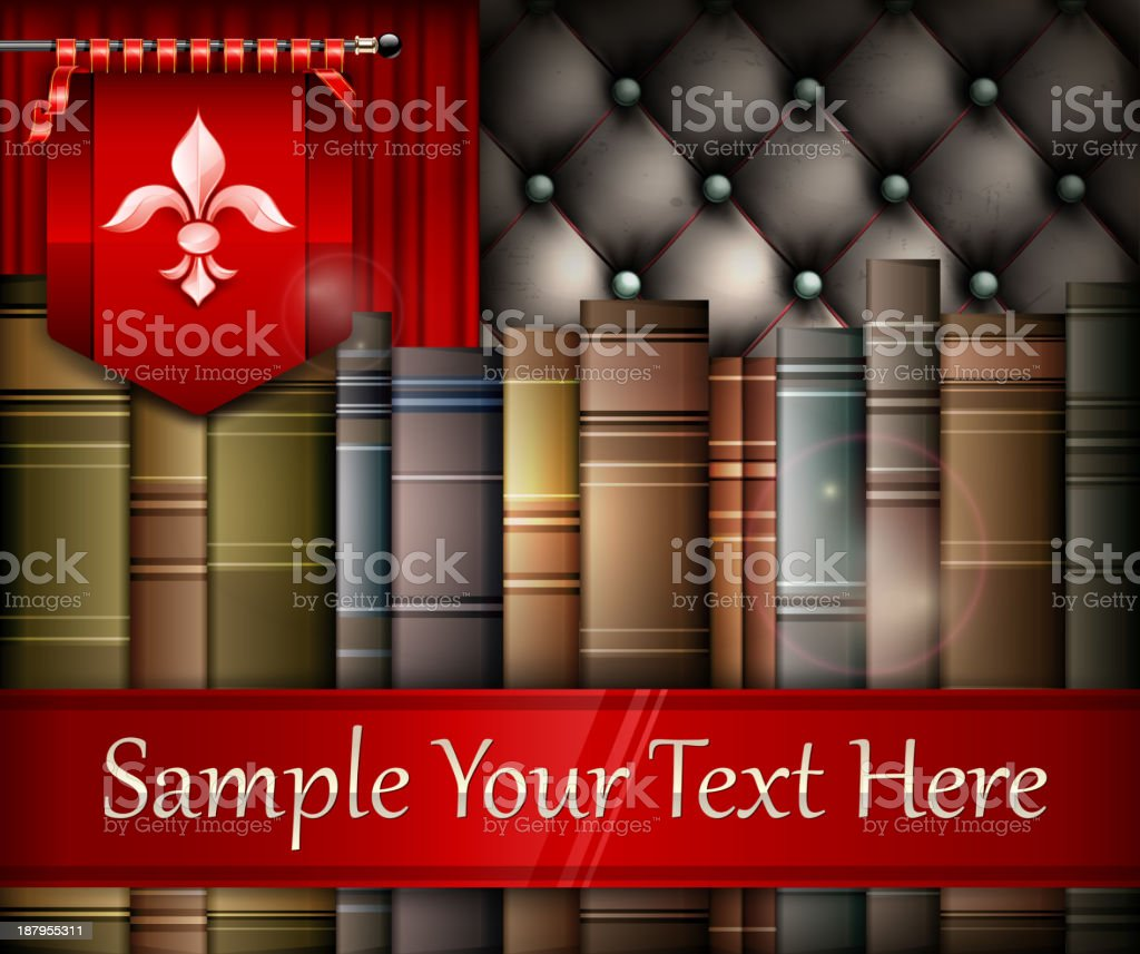 Book stack and heraldry lily royalty-free stock vector art