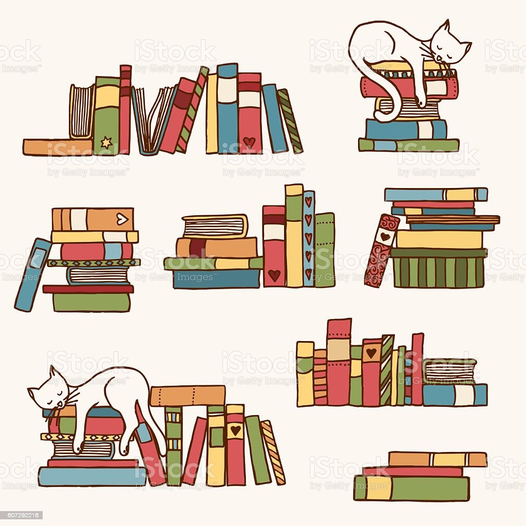 Book stacks with cute sleeping cat vector art illustration
