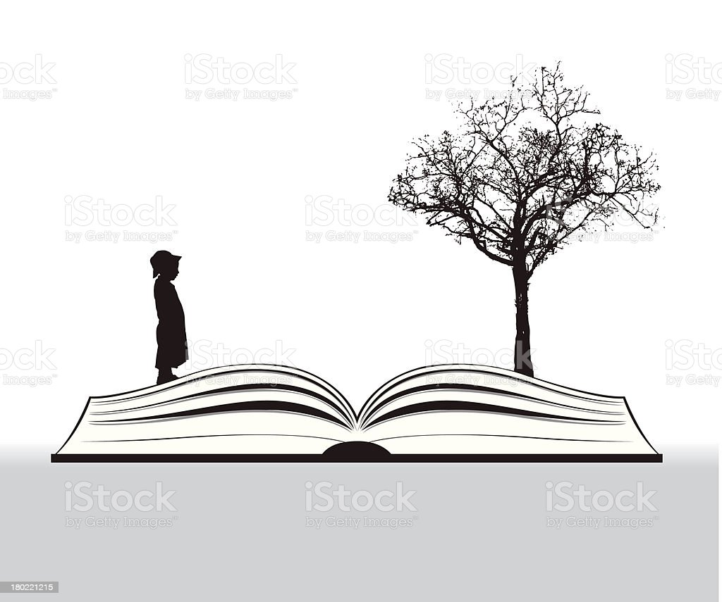 book story with child and tree vector art illustration