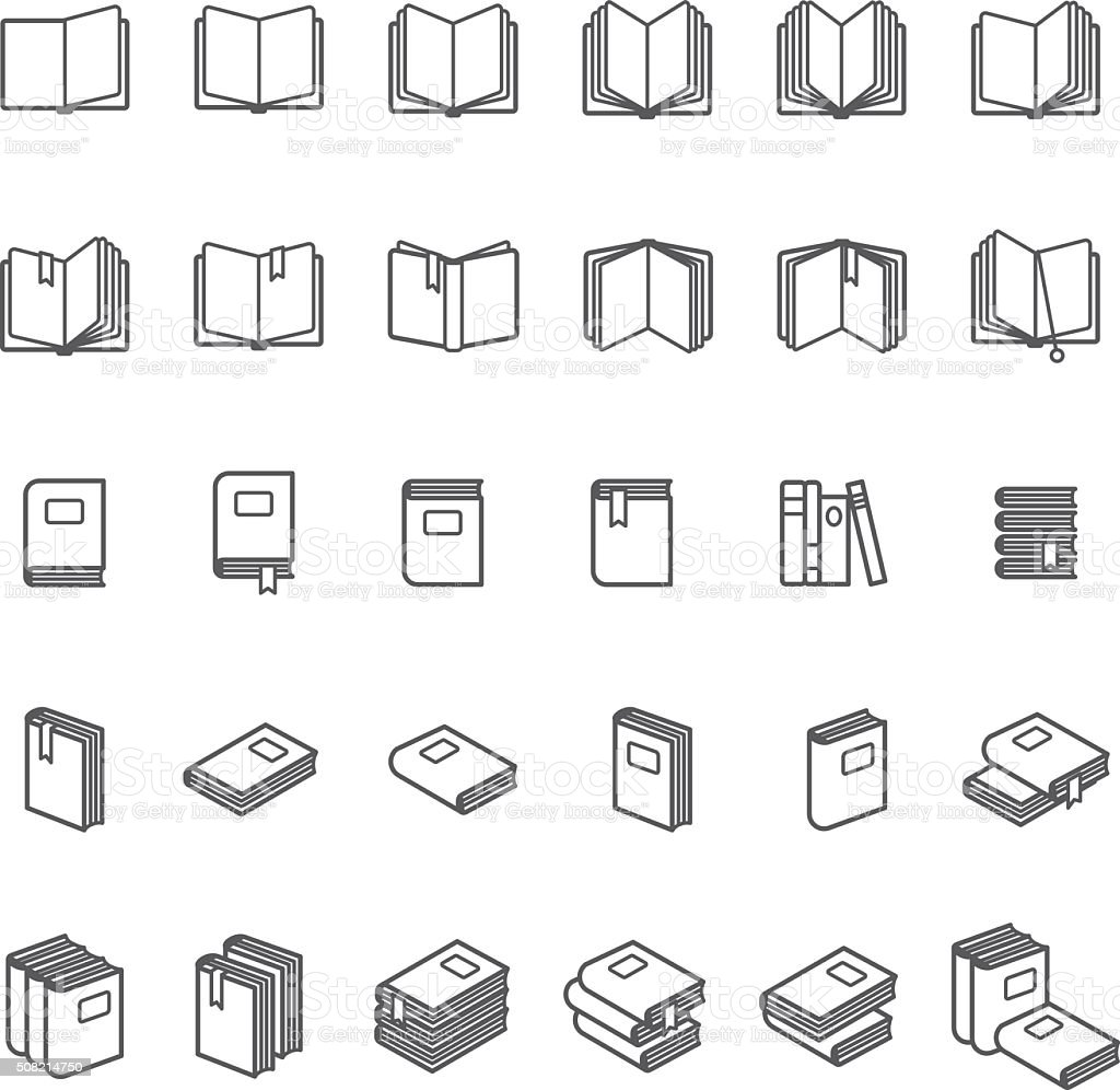 Book thin line icons vector art illustration