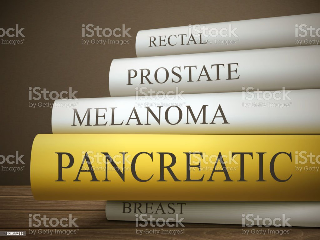 book title of pancreatic isolated on a wooden table vector art illustration