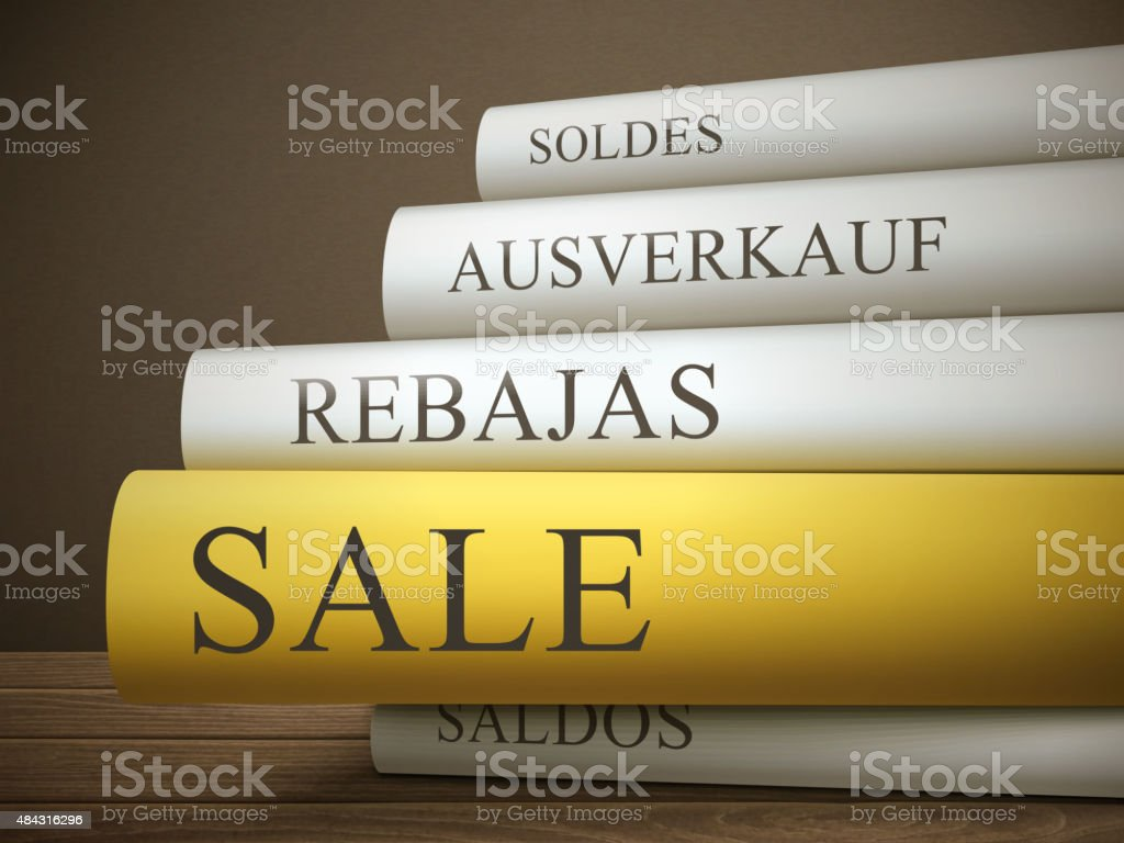 book title of sale isolated on a wooden table vector art illustration