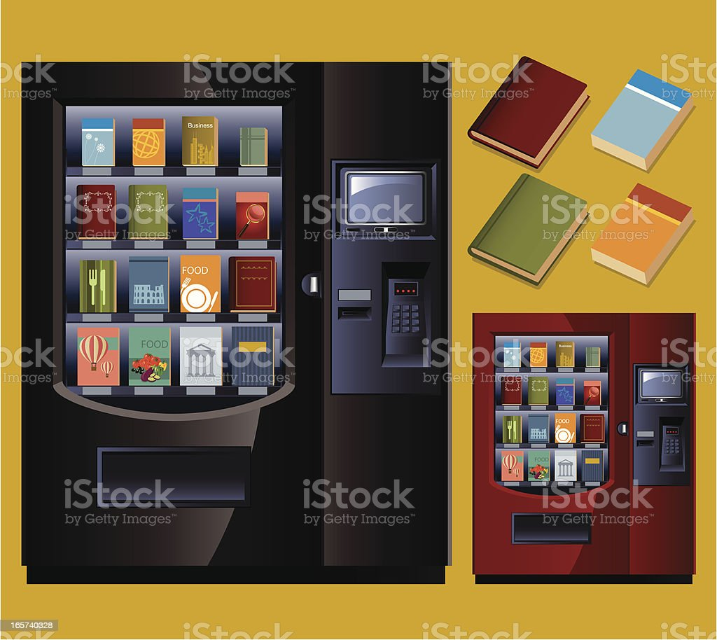 Book Vending Machine vector art illustration
