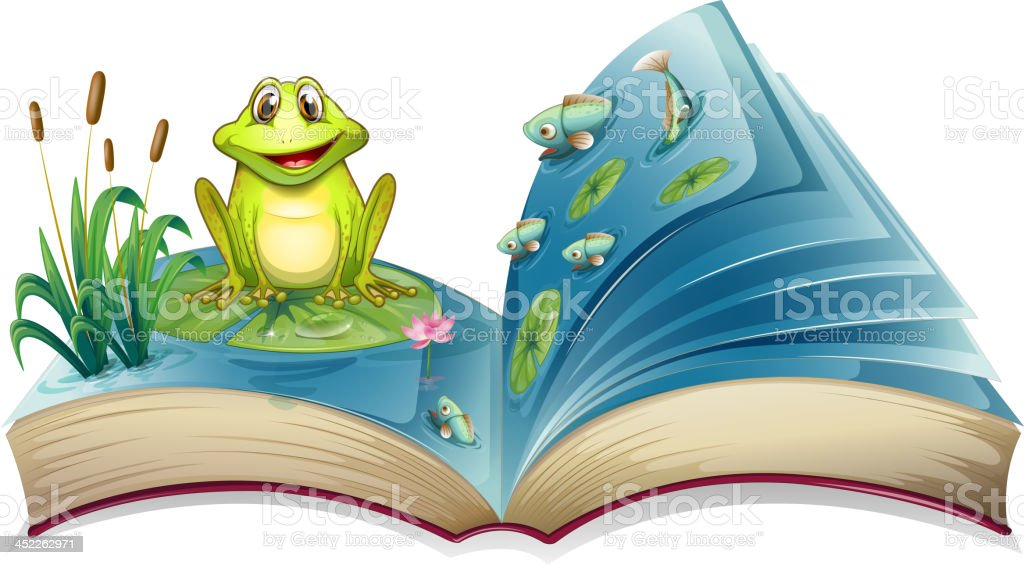 Book with a story of frog in the pond vector art illustration