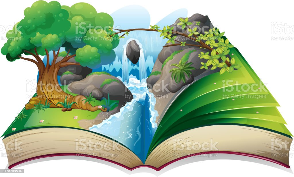 book with an image of a forest vector art illustration