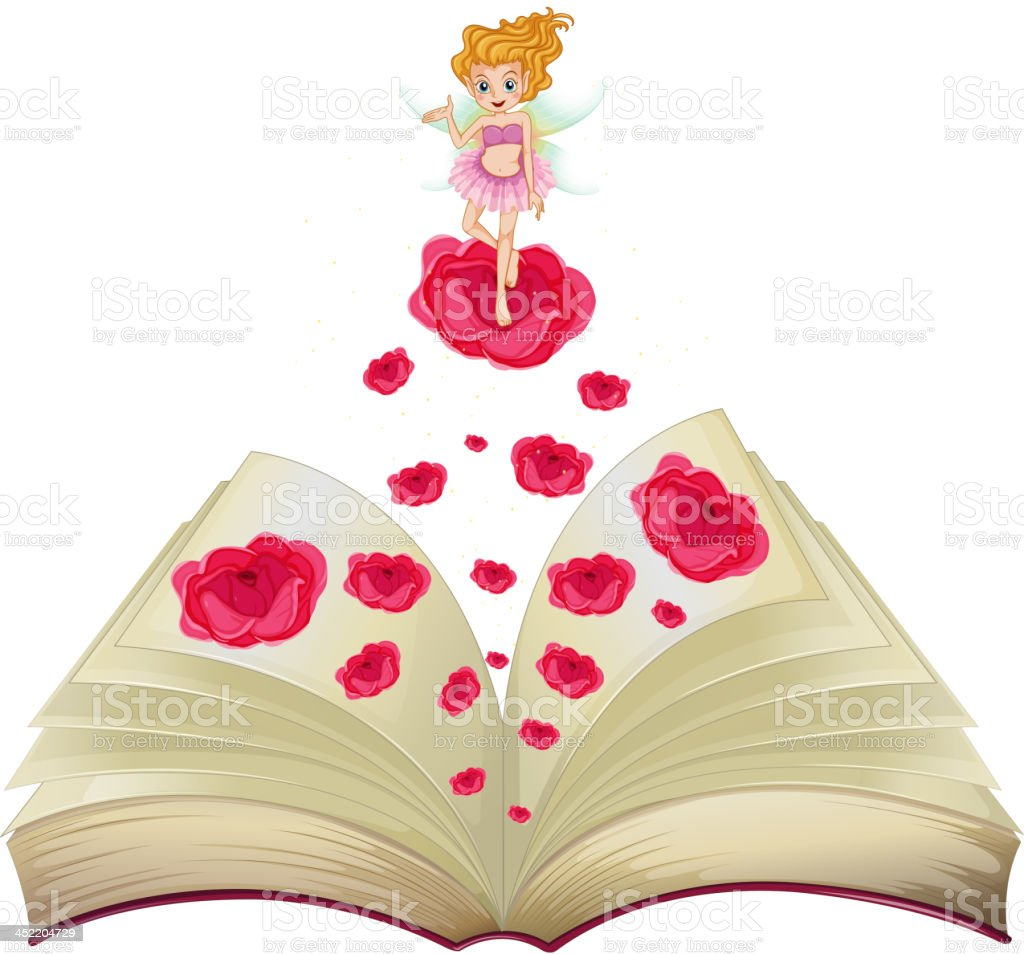 book with an image of fairy above a big rose royalty-free stock vector art
