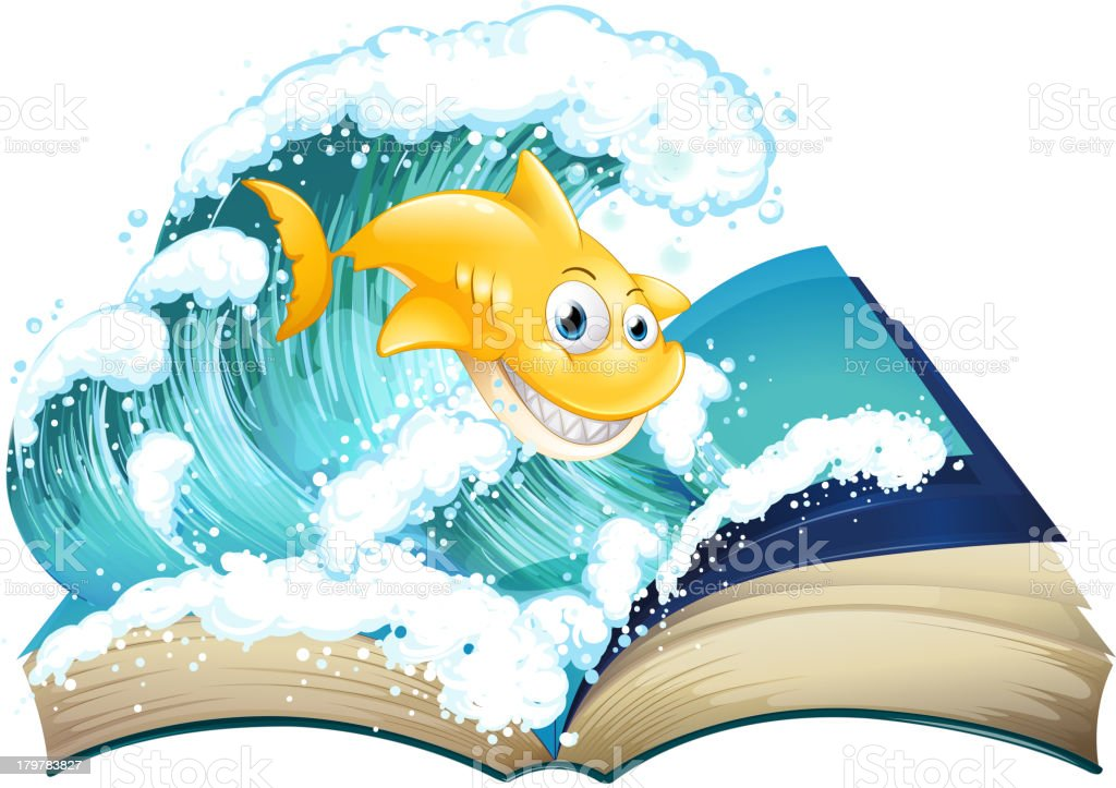 Book with an image of shark and wave royalty-free stock vector art