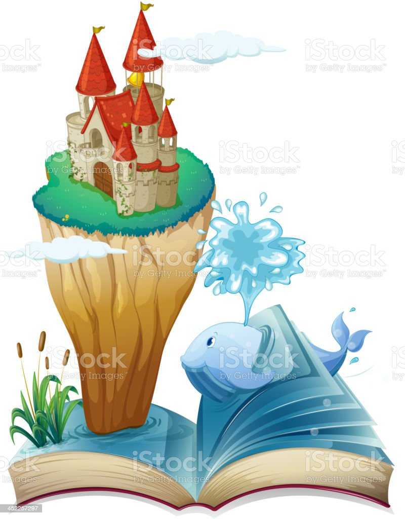 Book with dolphin and castle royalty-free stock vector art