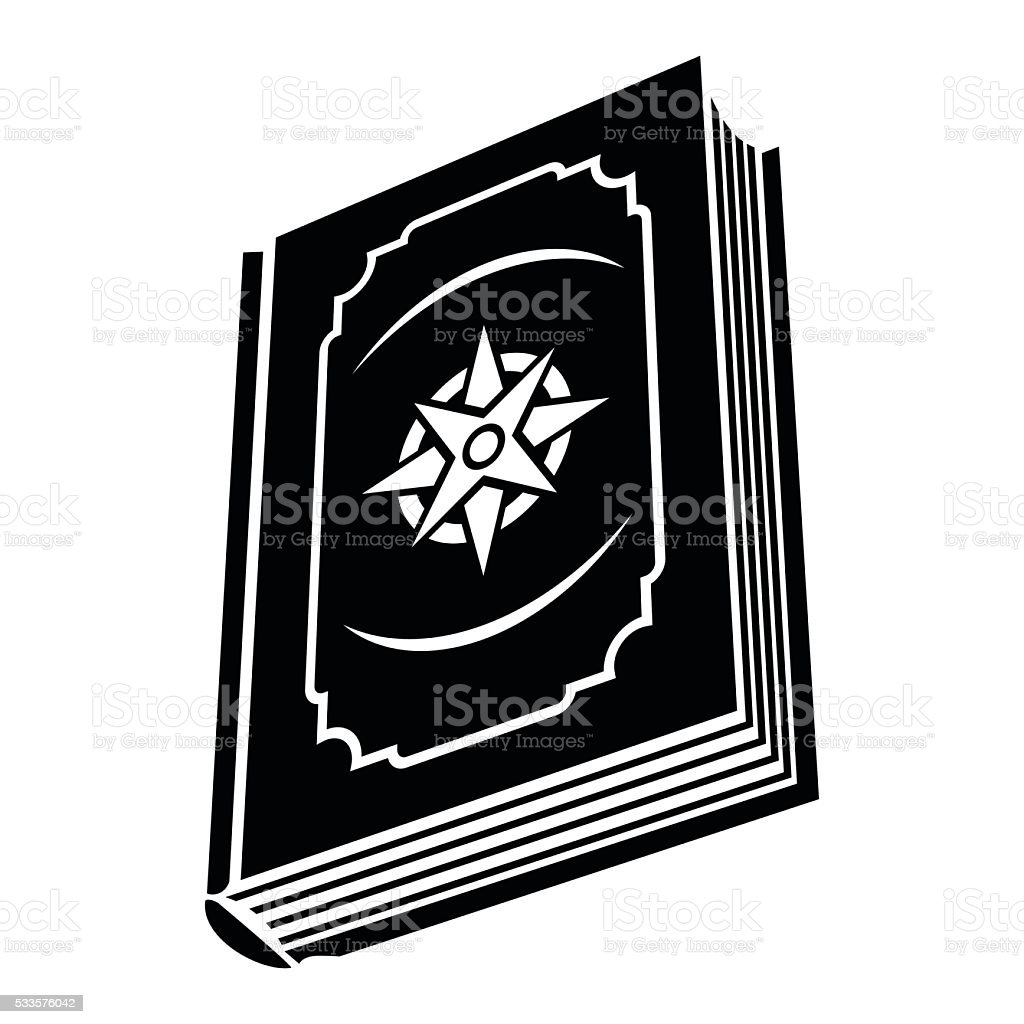 Book with eight-pointed star on the cover vector art illustration