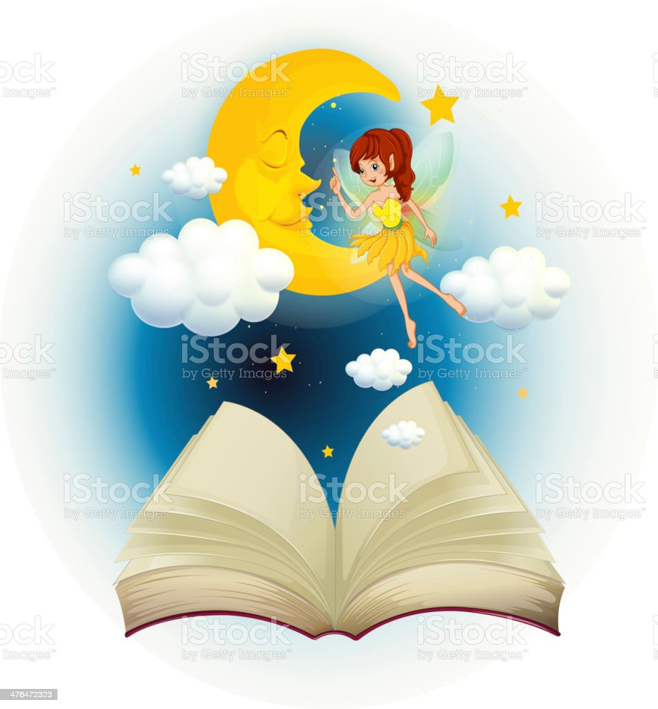 Book with image of fairy and sleeping moon royalty-free stock vector art