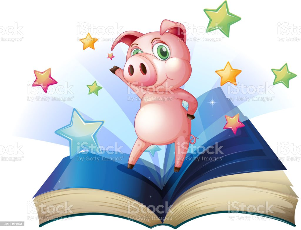Book with image of pig dancing royalty-free stock vector art