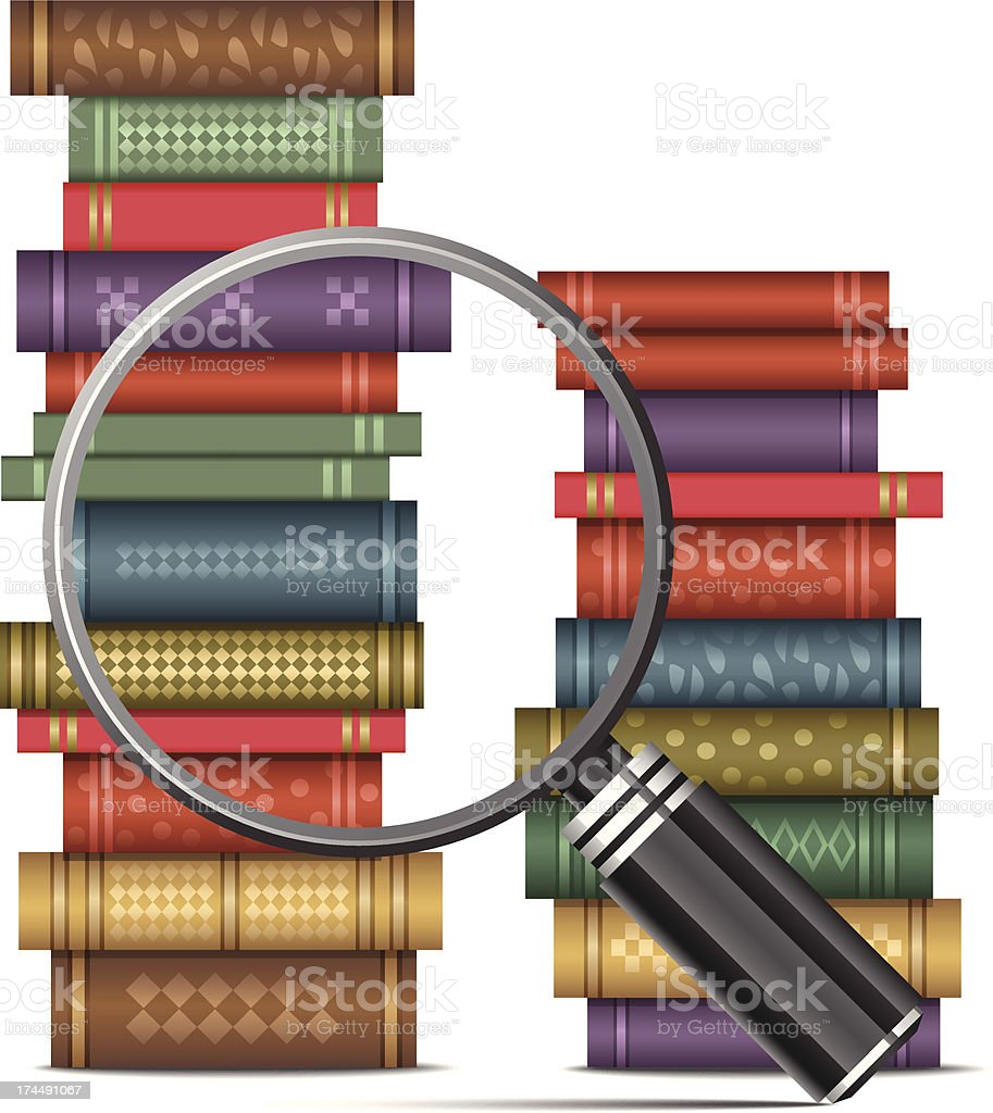 Book with magnifying glass royalty-free stock vector art