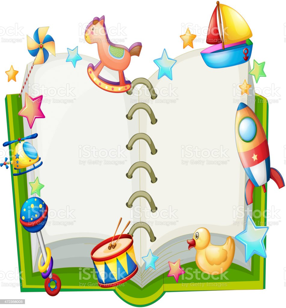 Book with many toys royalty-free stock vector art