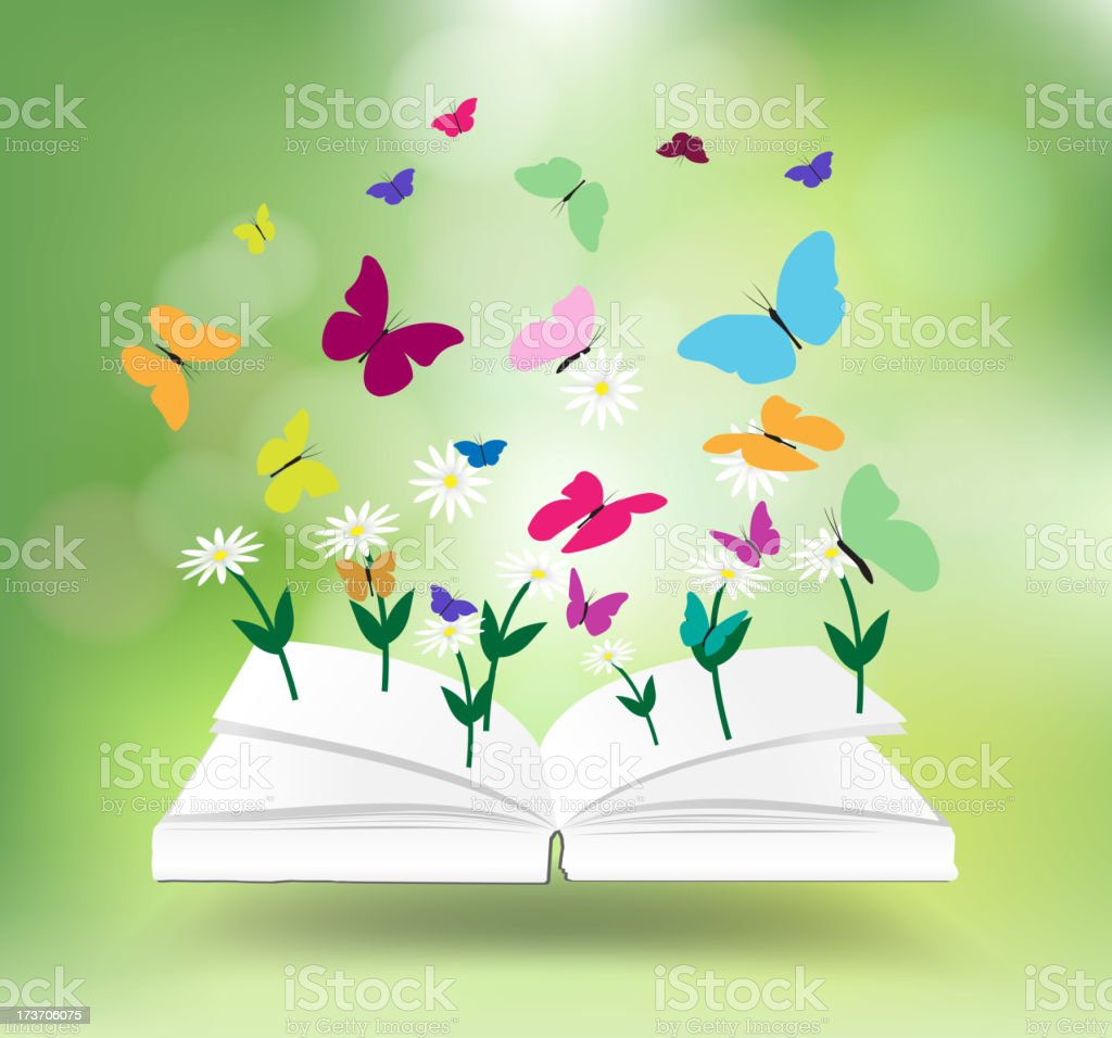 Book with nature concept idea, Vector illustration royalty-free stock vector art