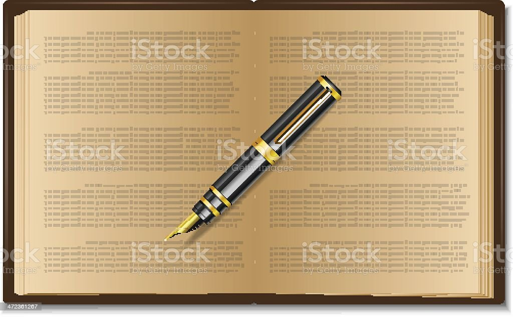 Book with pen royalty-free stock vector art