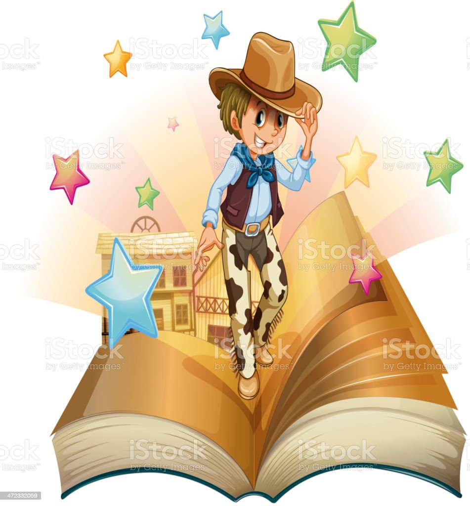 Book with young cowboy in front of saloon bar royalty-free stock vector art