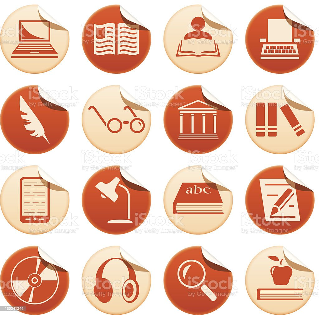 Book writing and reading stickers royalty-free stock vector art