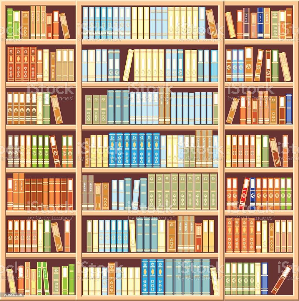 Bookcase full of books vector art illustration