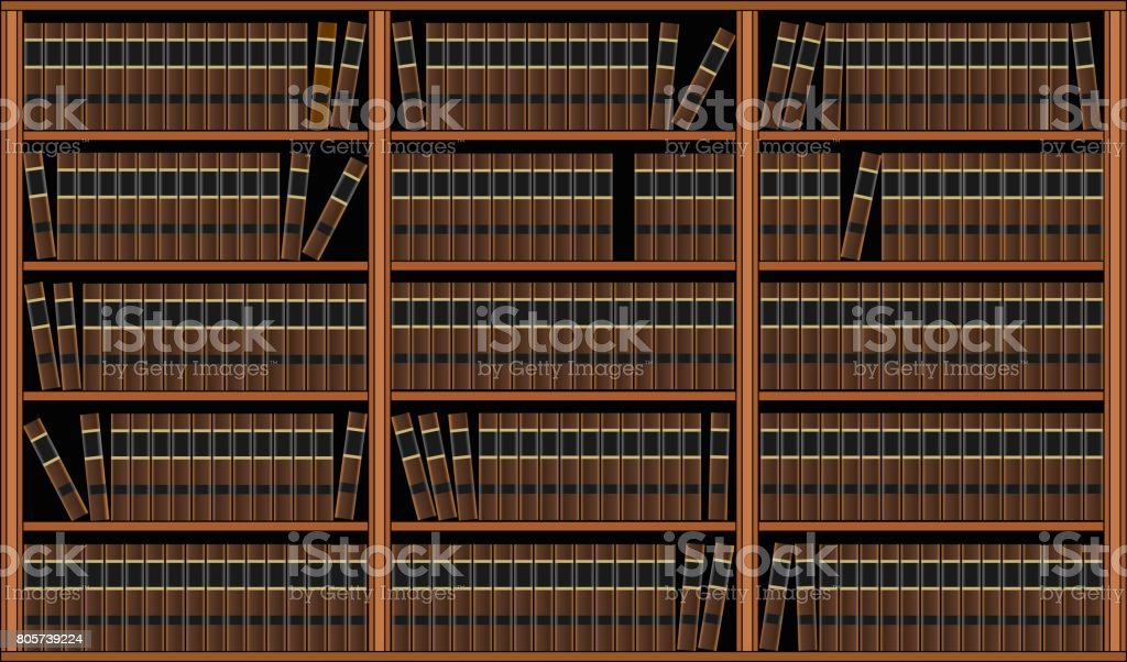 Bookcase With Books - Library vector art illustration