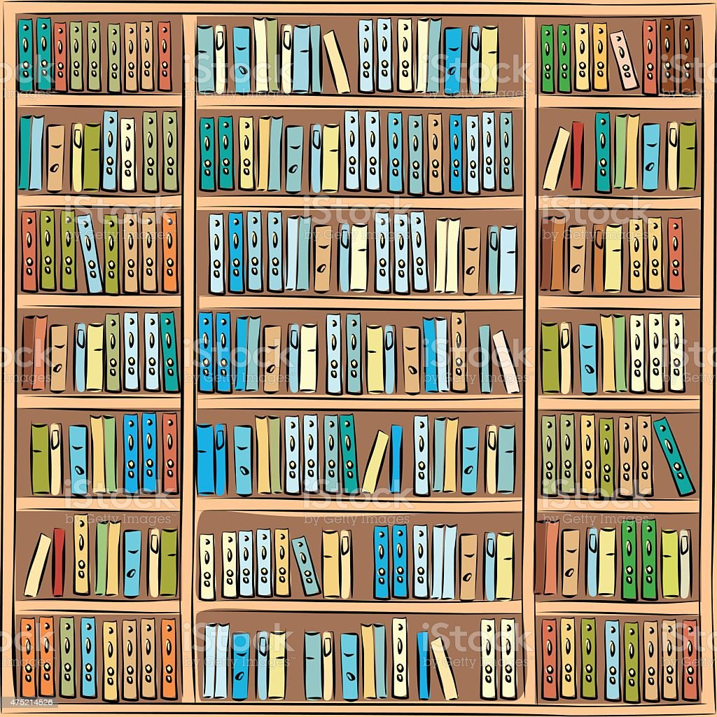 Bookcase with different colorful books vector art illustration