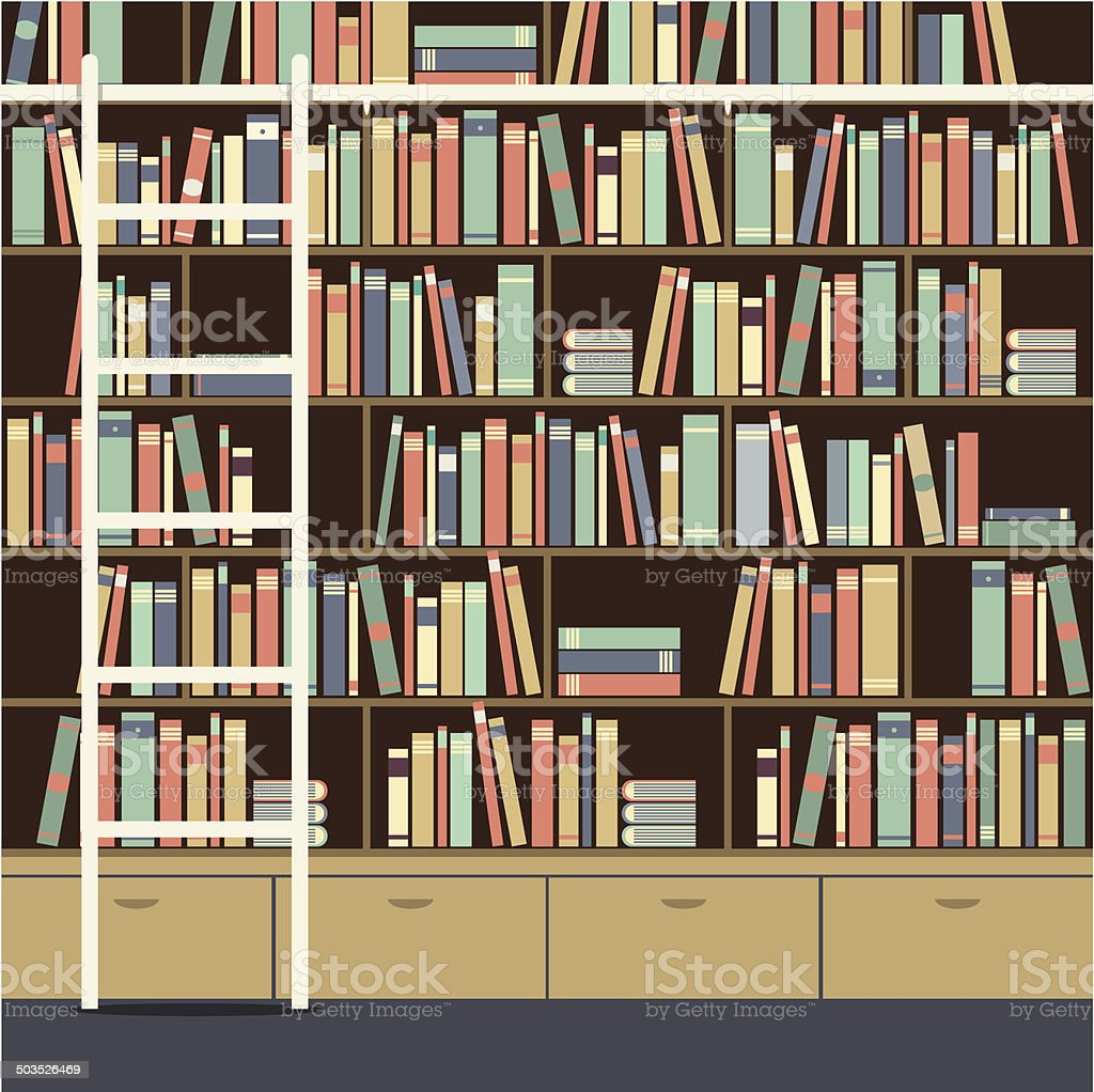 Bookcase With Ladder Vector Illustration vector art illustration