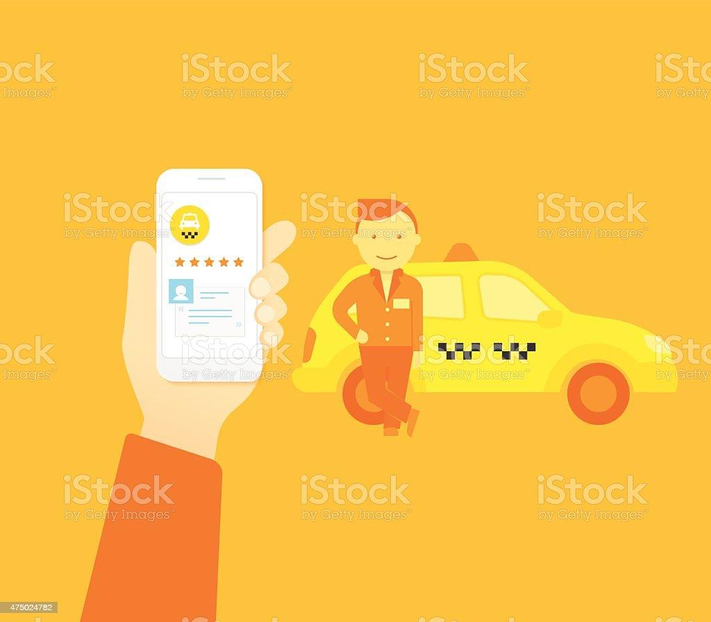 Booking taxi vector art illustration