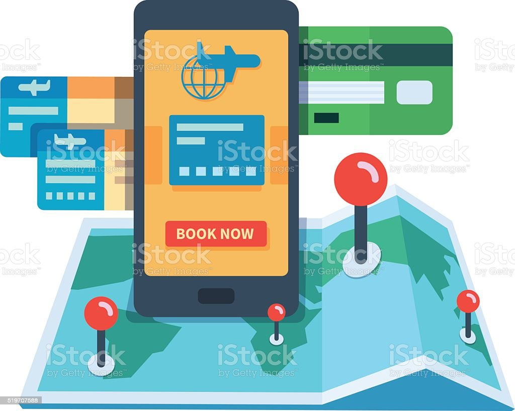 Booking travel online concept vector art illustration