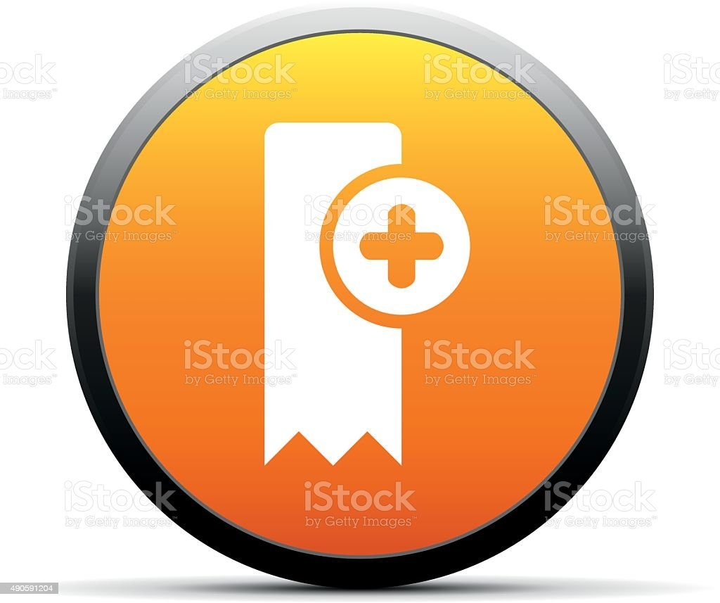 Bookmark icon on a round button. - SimpleSeries vector art illustration