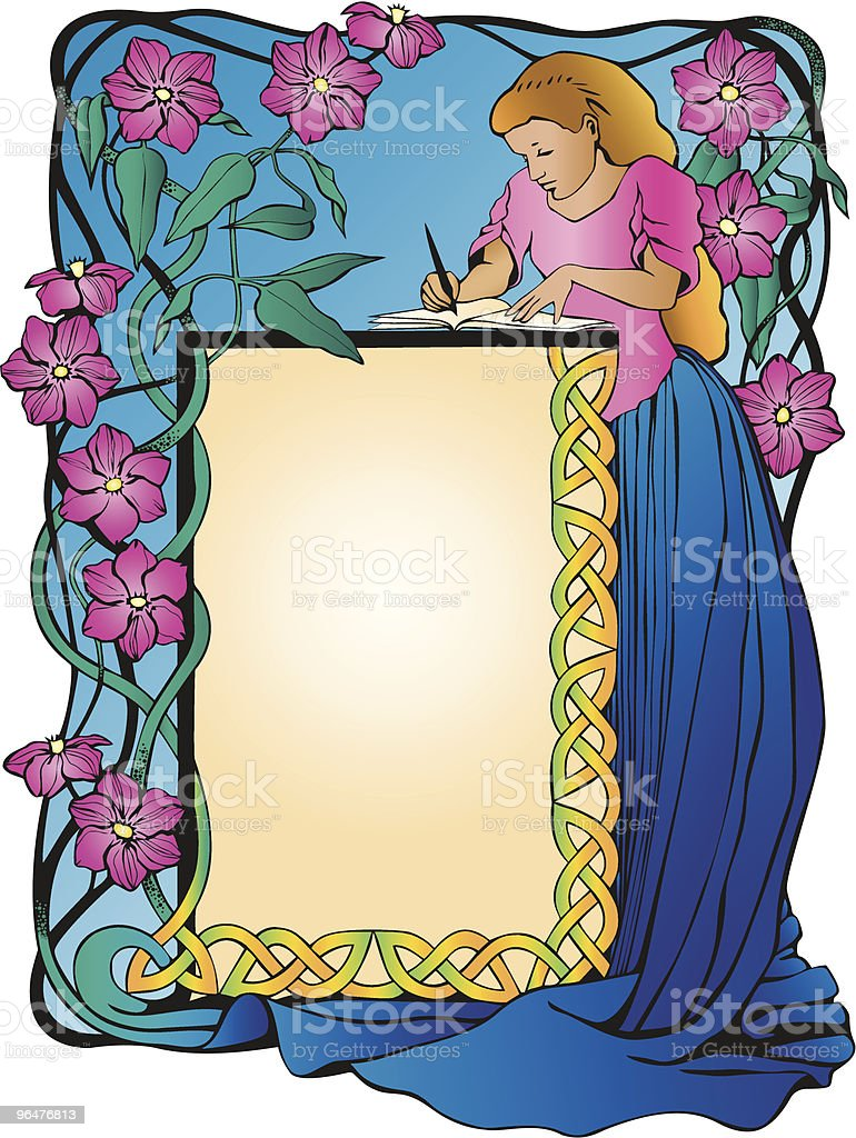 Bookplate of Girl writing with Clematis Flowers frame royalty-free stock vector art