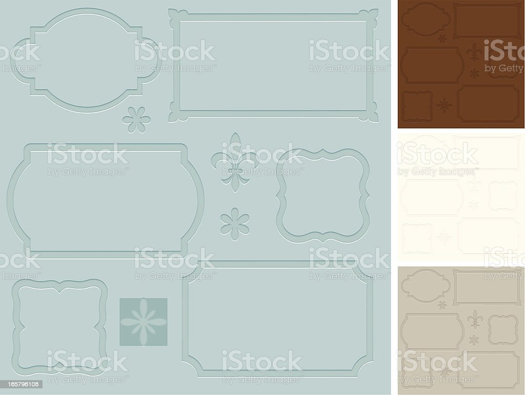 Bookplates with letterpress effect royalty-free stock vector art