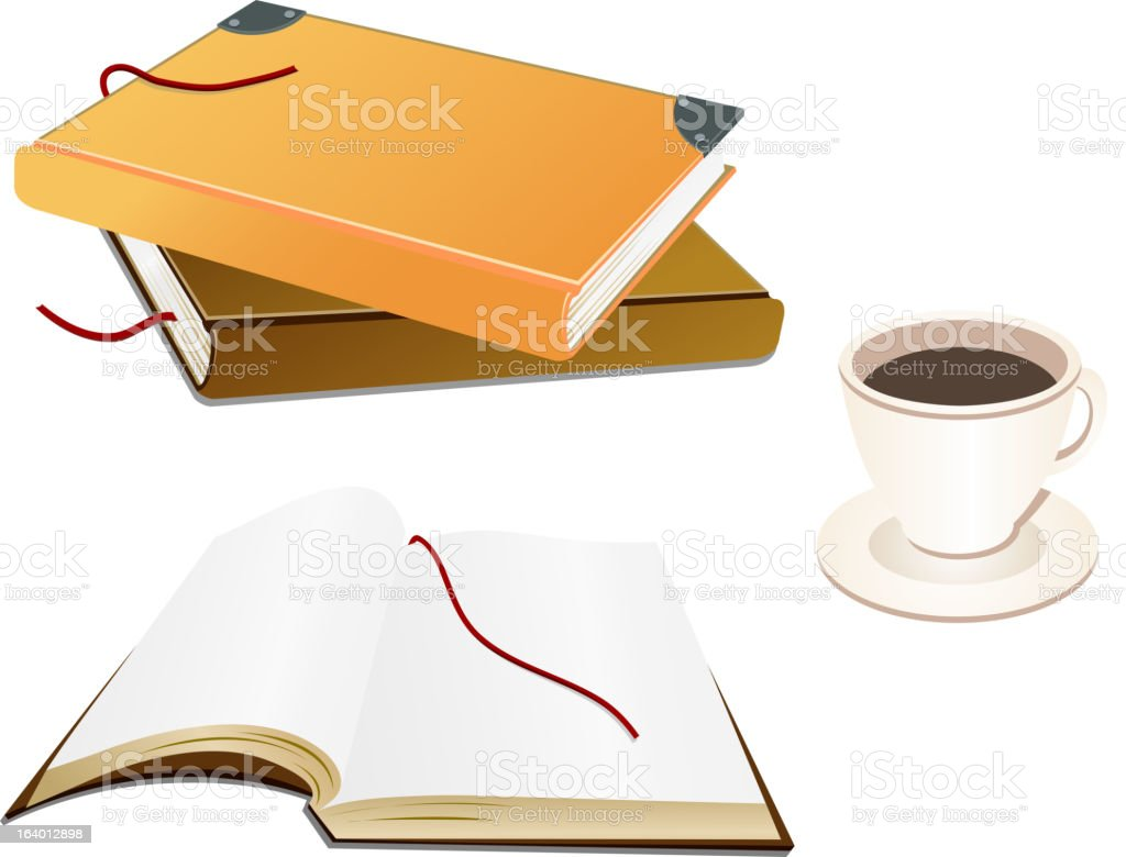 Books and a coffee cup royalty-free stock vector art