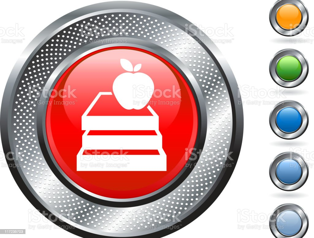 books and an apple icon on metallic button royalty-free stock vector art