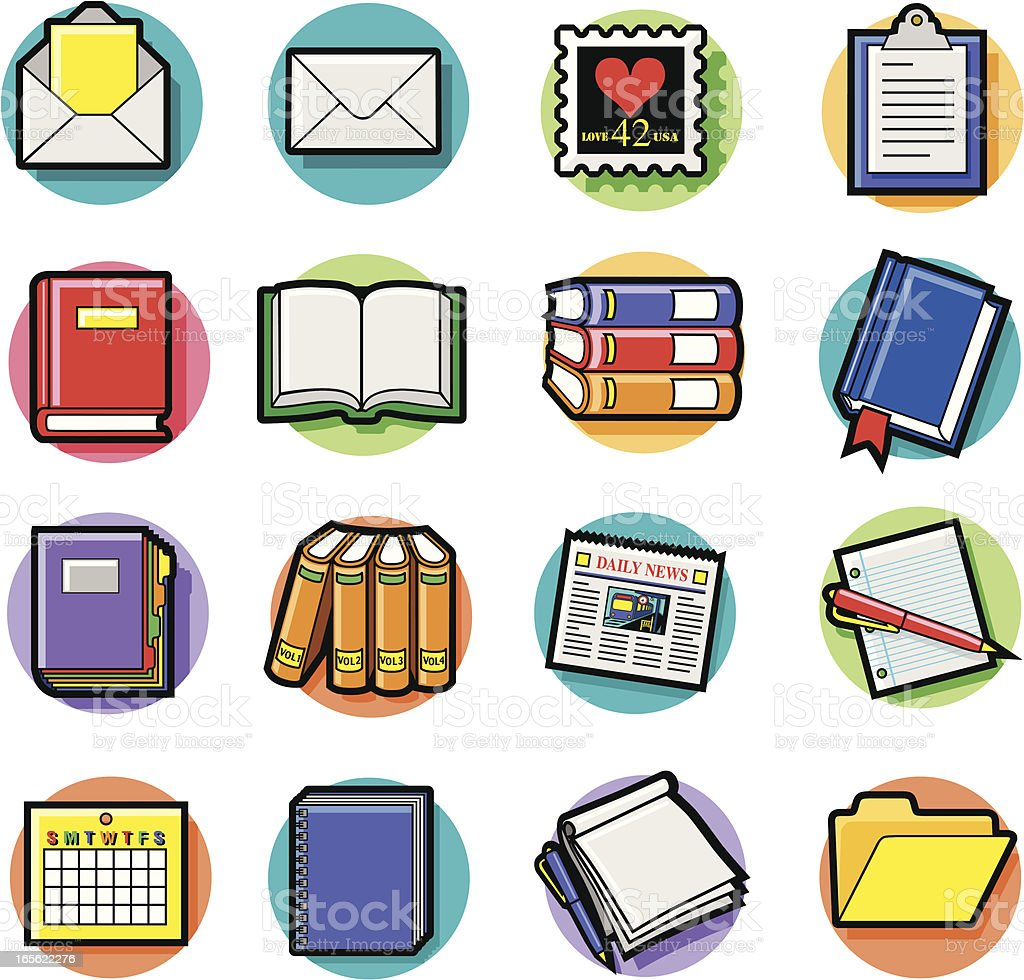 books and documents icons vector art illustration