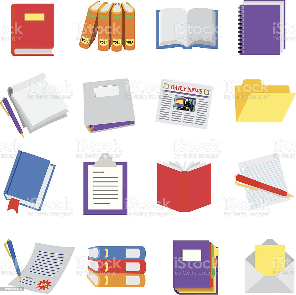 books and documents vector art illustration